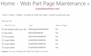 How to remove duplicate web parts from web part page in SharePoint 2013 Online?