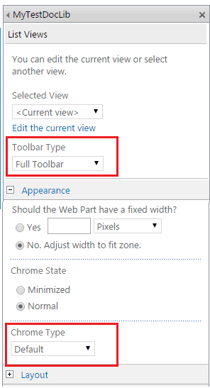 sharepoint 2013 document library checkbox missing webpart properties
