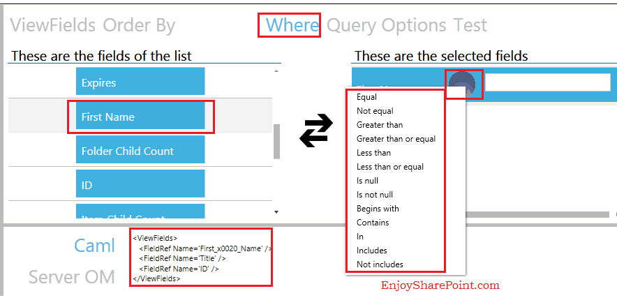 Caml query builder SharePoint 2013 Online