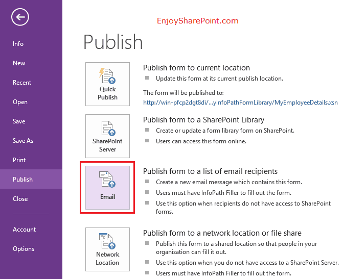 publish infopath form to email sharepoint