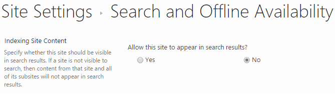 Prevent Site Content to appear in SharePoint 2013 search results
