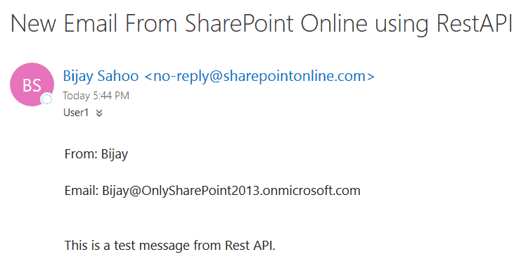 send email using rest api sharepoint online