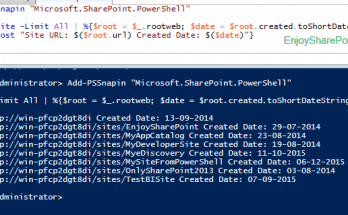Get Site Created Date using PowerShell in SharePoint 2013