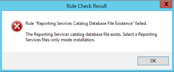 Reporting services catalog database file existence Failed