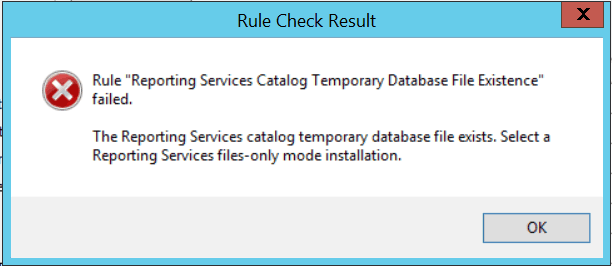Reporting services catalog temporary database file existence Failed