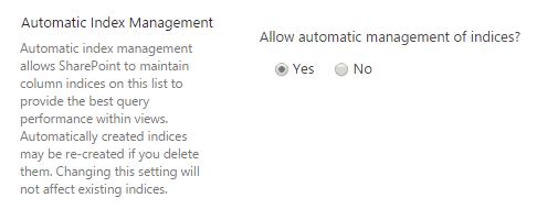 sharepoint automatic index management