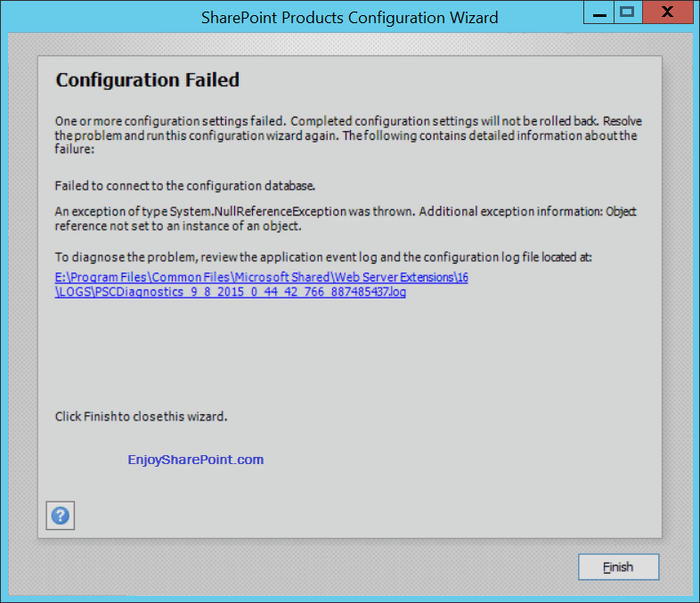 Configuration failed sharepoint 2016