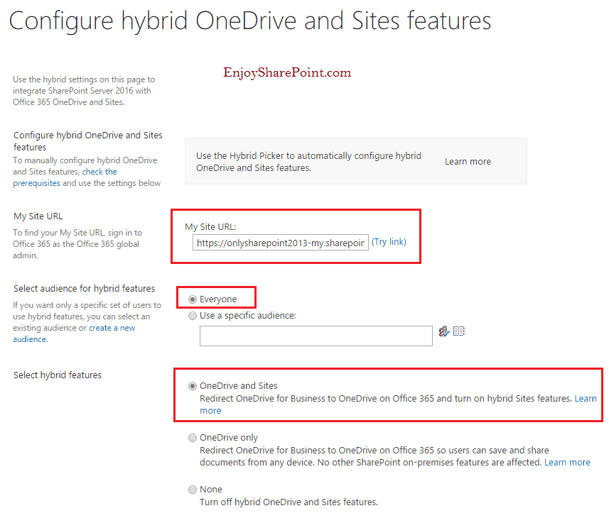 How to Configure hybrid OneDrive and Sites features in SharePoint 2016?