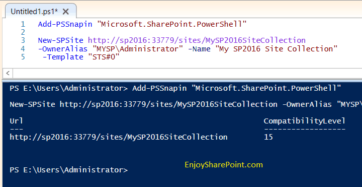 create site collection sharepoint powershell