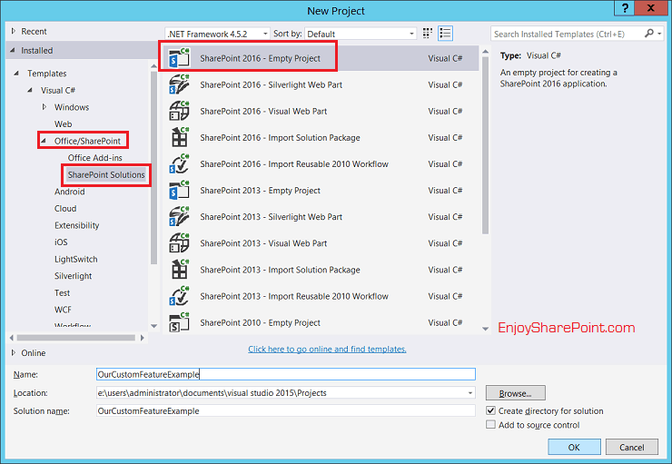 Develop and deploy custom feature using Visual Studio 2015