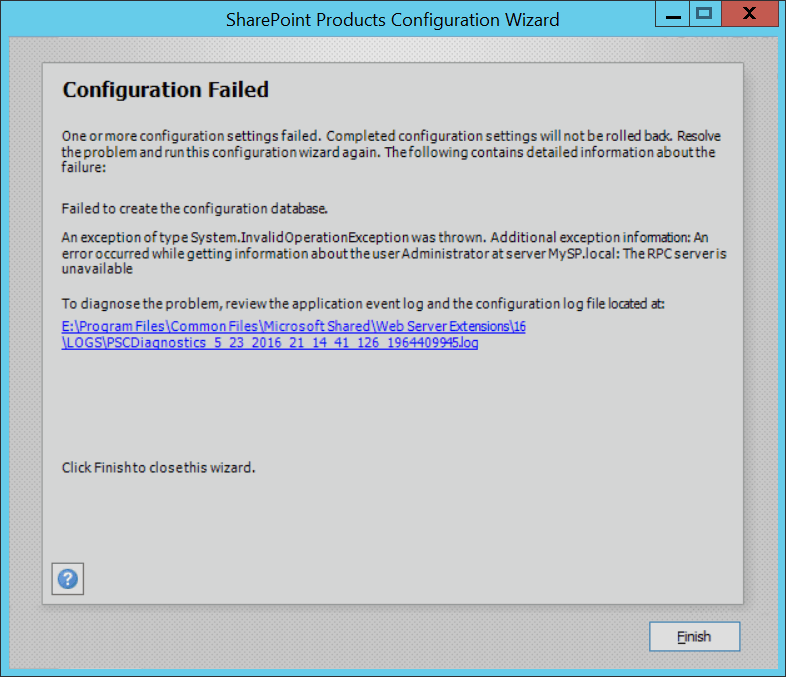 the rpc server is unavailable error while installing sharepoint 2016