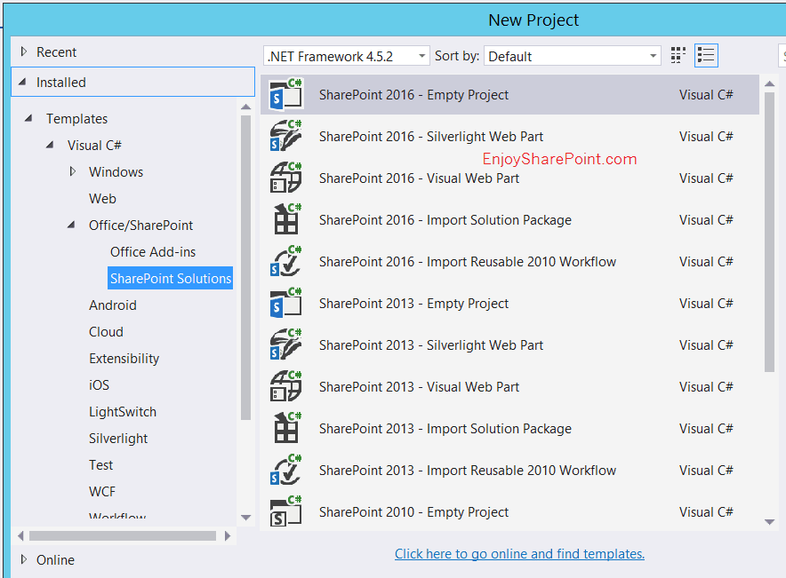 SharePoint 2016 Project Template for Visual Studio 2015