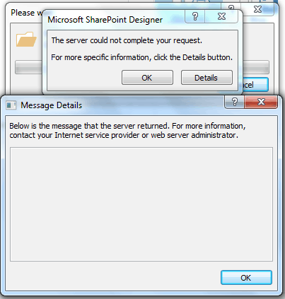 the server could not complete your request sharepoint designer 2013