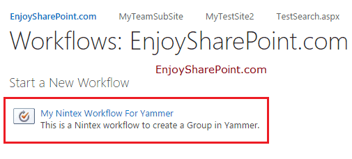 create yammer group nintex workflow for Office 365