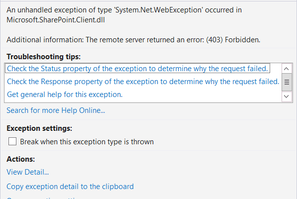 The remote server returned an error 403 forbidden while working with SharePoint 2013 Online Site using C#.Net Client object model code