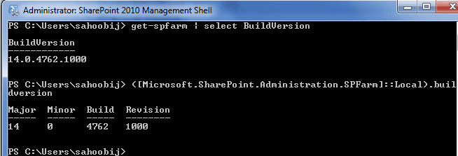 check sharepoint version powershell