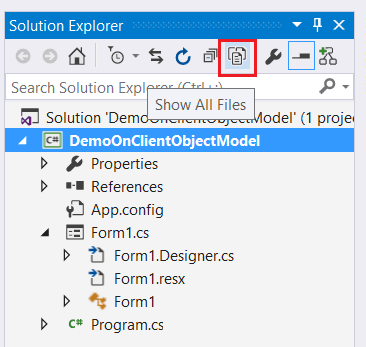 Show All Files button missing in solution explorer visual studio 2015