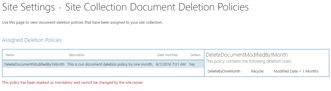 document retention policy sharepoint 2013