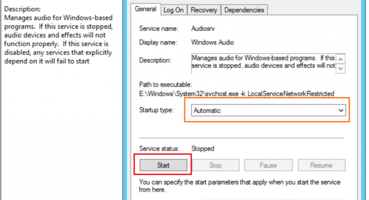 the audio service is not running windows server 2012 r2