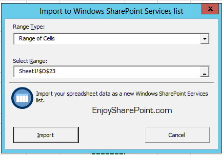 Import Spreadsheet option in SharePoint