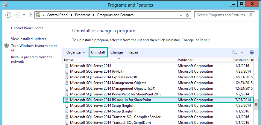 uninstall sql server reporting services 2013