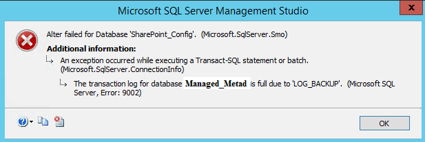 import-spterms failed to read from or write to database. refresh and try again