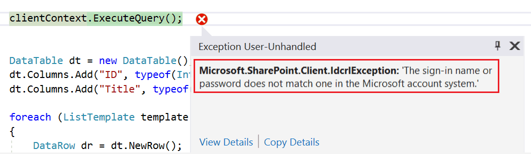 the sign-in name or password does not match one in the microsoft account