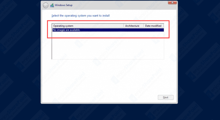 windows server 2016 image not available
