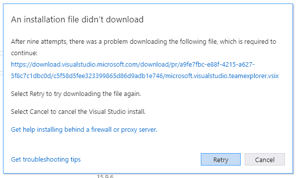 after nine attempts there was a problem downloading the following file visual studio 2017