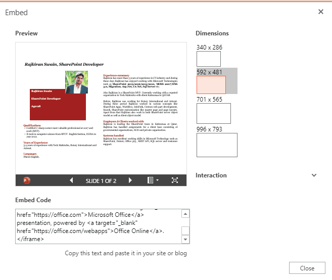 Embed PowerPoint Slide in SharePoint Online/2013/2016/2019