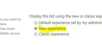 sharepoint change default experience