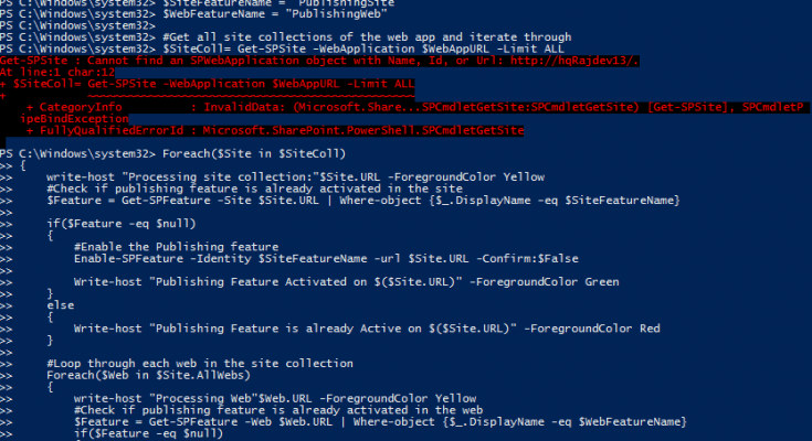 activate publishing feature sharepoint 2013 powershell