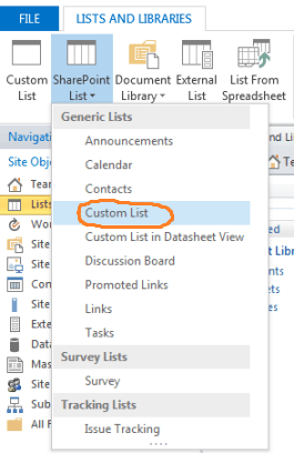 how to create custom list using sharepoint designer 2013