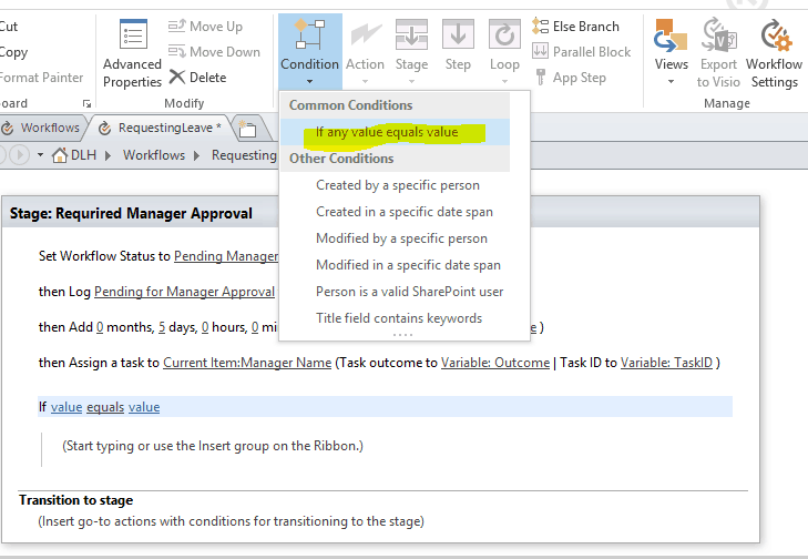 create leave request workflow in SharePoint online