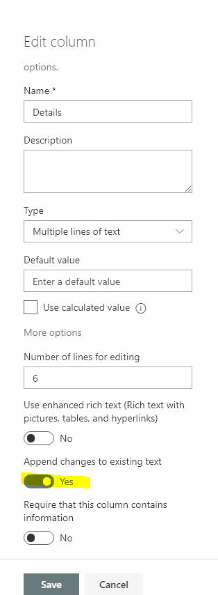 Enable view entries in sharepoint list