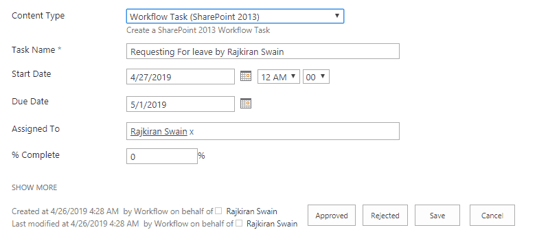 sharepoint 2016 leave request approval workflow