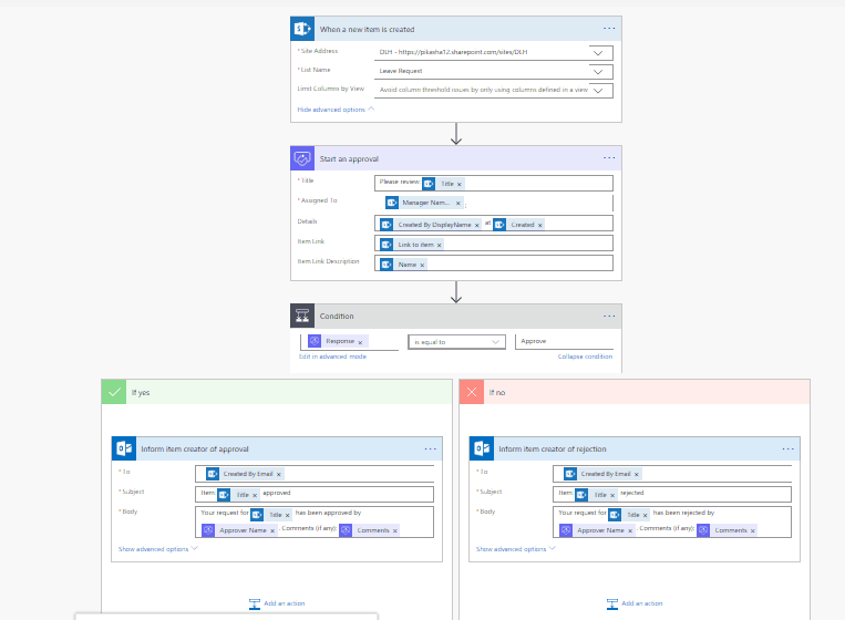 Create a Leave request approval workflow using Microsoft