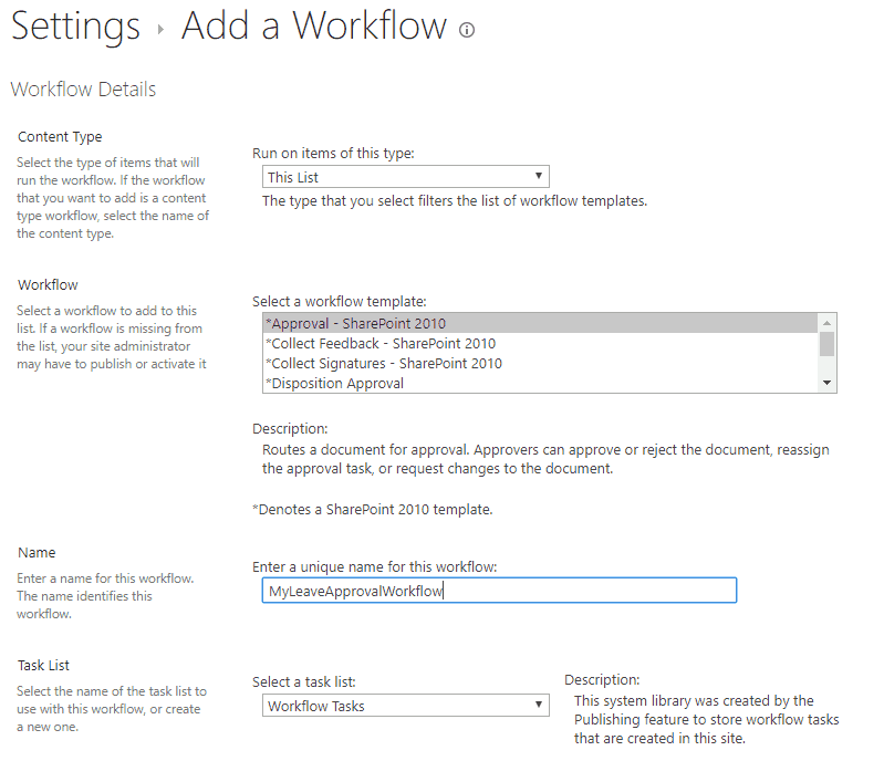 sharepoint leave request approval workflow