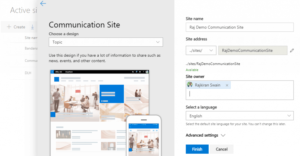 Create a communication site in SharePoint Online