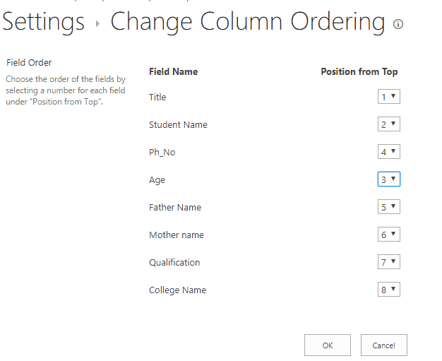 change column order in sharepoint list form