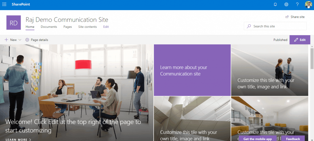 What is a SharePoint communication site?