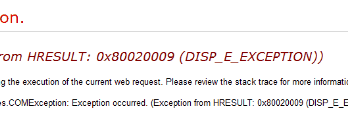Exception from HRESULT: 0x80020009