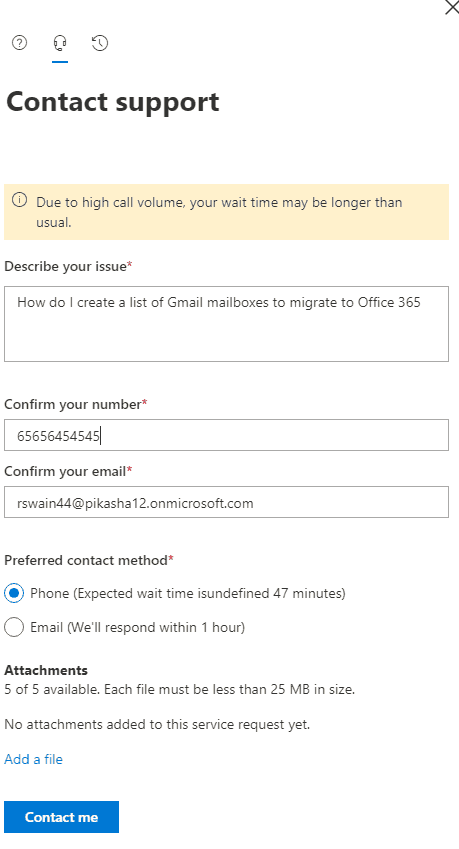 create new service request office 365