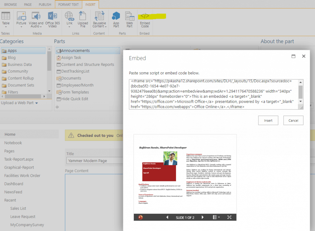 embed powerpoint slideshow in sharepoint 2013
