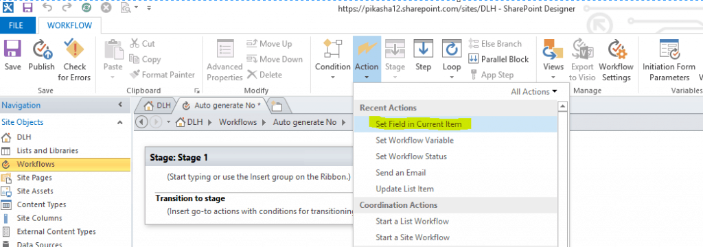 sharepoint online auto increment number workflow