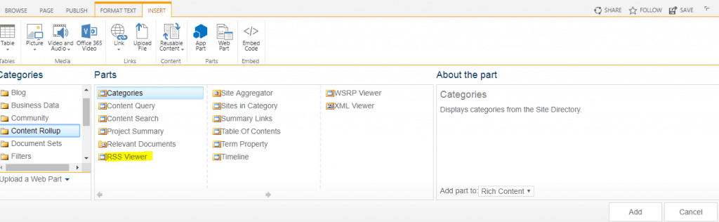 RSS viewer web part example in SharePoint
