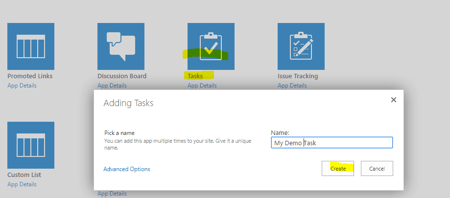 create task list in sharepoint 2013
