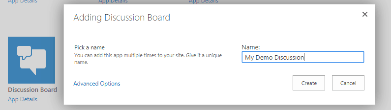 create discussion board in sharepoint 2016