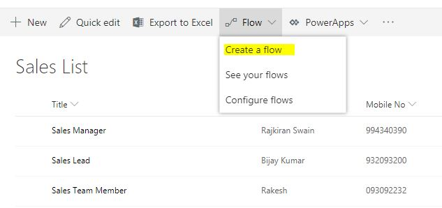 Send an Email when Item added in a list using Microsoft Flow