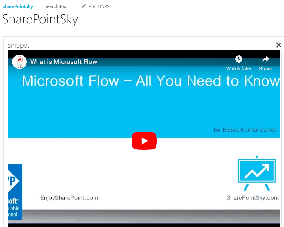 Embed YouTube Videos in SharePoint online
